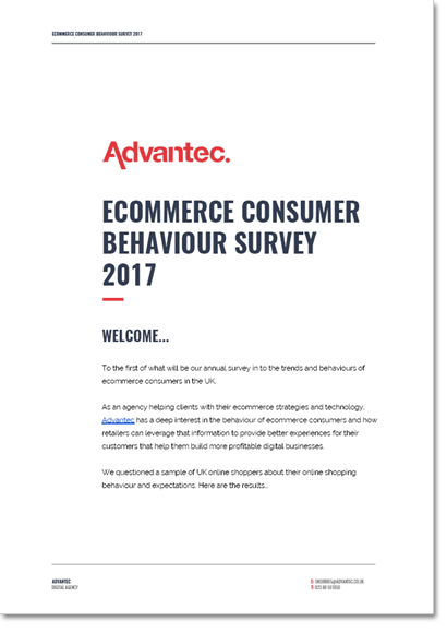 The cover of the Advantec's Ecommerce Consumer Behaviour Survey 2017 publication