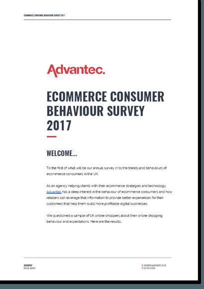 The cover of the Advantec's Ecommerce Consumer Behaviour Survey 2017 publication